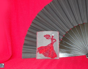 Flamenco gift, Grey phone sleeve, Dancer in Red, Mobile phone case, Grey Gadget cozy, Red and Gray pouch, Dancer with fan, Cell phone sleeve