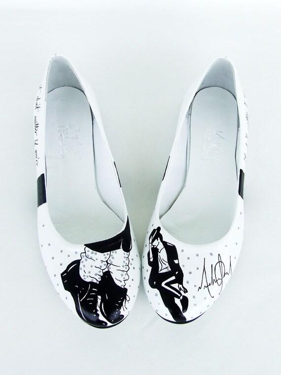 michael jackson handpainted shoes black white flats
