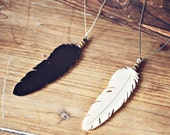 Large Tribal Feather necklace - Indie chic, bohemian everyday necklace,