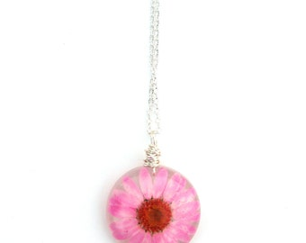 Real Daisy Necklace - Pressed Flower Jewelry - Pink Daisy - Resin Necklace -  Wire Wrapped Pendant - Daisy in Resin