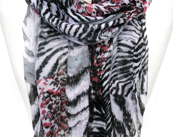 Animal Print Scarf. Leopard Scarf. Cotton Scarf. Zebra Scarf. Bicolor Shawl. Animal Lovers Scarf. Woman Scarf. 27x65in (70x165cm) Ready2Ship