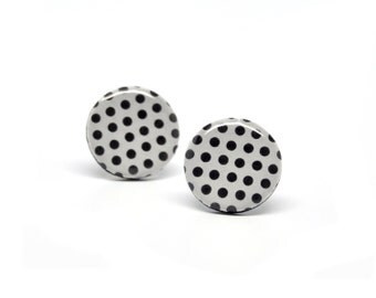 Stud earrings black and white polka dots polymer clay ear posts 15mm round