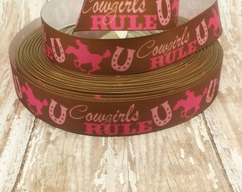 7/8 Grosgrain Cowgirls Rule Ribbon 1 yard cut
