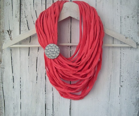 Coral pink multi-strand upcycled elastic jersey fabric necklace with removable brooch