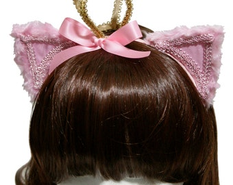 Pink Hime Princess Kitty Cat Ears Headband - Made to Order