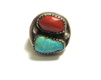 Large Sterling Silver Coral and Turquoise Ring - Size 10 - Oversized - Weight 32 Grams - Native American - REDUCED