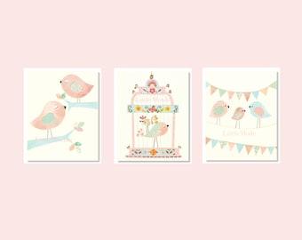 Baby Girl Nursery Prints, Nursery Art, French Nursery, SET OF 3 PRINTS, Birds, Pastel Nursery Art, Shabby Chic, Romantic