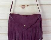 Aubergine purple hand dyed fringe boho nubuck leather bag