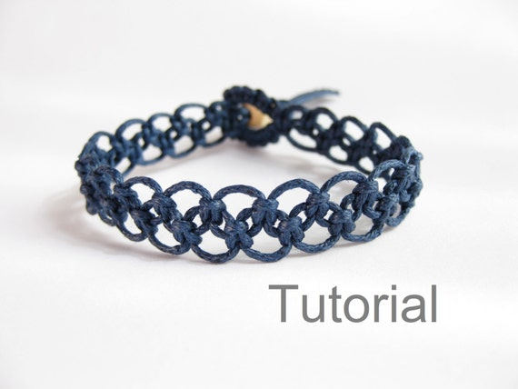 Tutorial macrame bracelet pattern pdf easy navy blue knotted step by ...