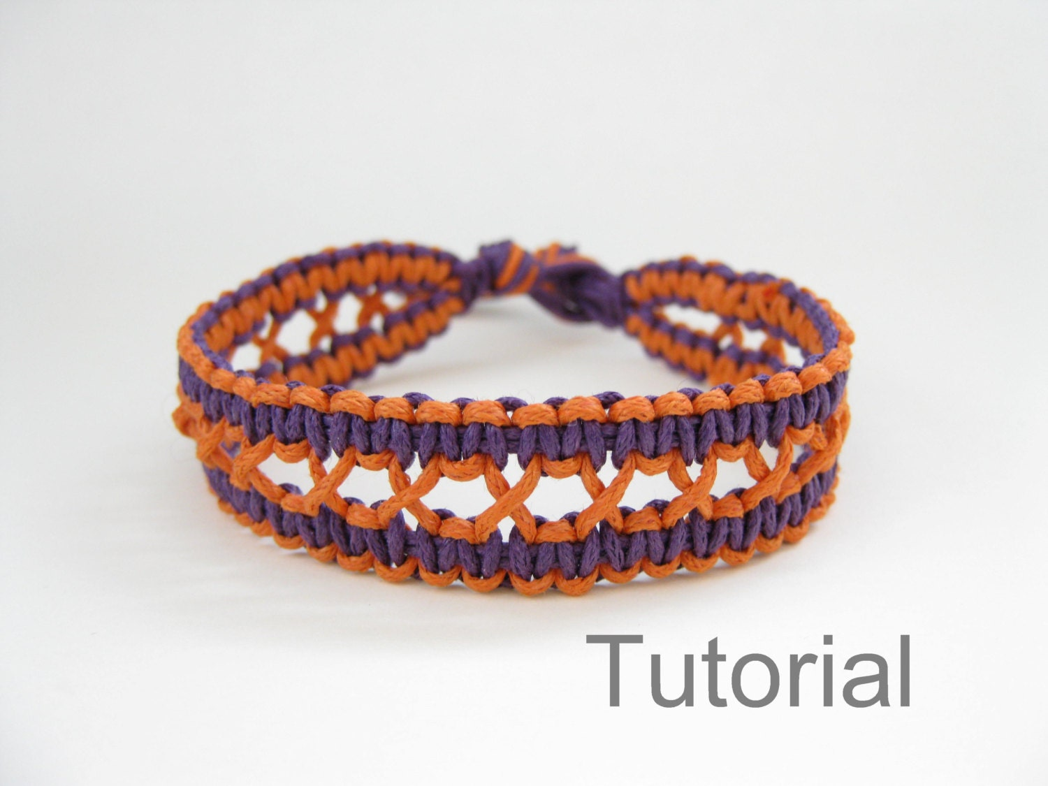 Knotted bracelet pattern macrame tutorial pdf purple orange jewelry ...