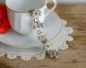 Vintage Mexican Sterling Silver Bracelet flower design linked jade art deco Mexico Silver gray grey