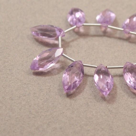 Lavender Quartz Beads, Faceted Marquise Briolette Beads, Pastel Gemstone Beads--1 pair