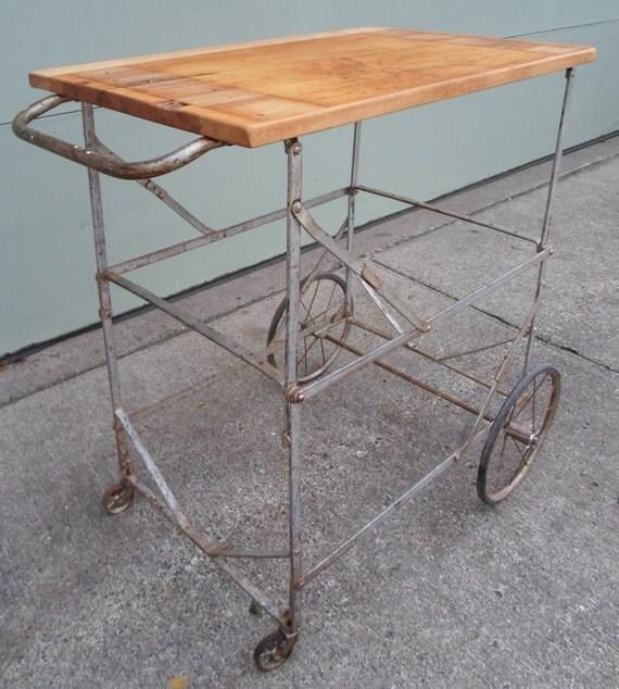 Vintage Industrial Metal Cart Table Folding Rolling