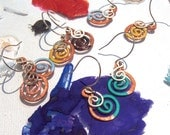 Copper & Silver Double Spiral Earrings: choose your Chromist color!