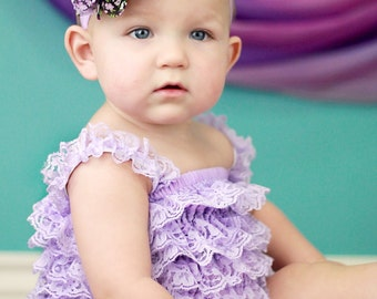 CLEARANCE Baby Headband, Infant Headband, Toddler Headband, Headband, Purple Floral Print  Frayed Chiffon and Lace Flower Headband