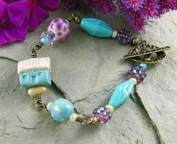 Cottage Garden Bracelet Handmade Turquoise Ceramic House Purple Flowers