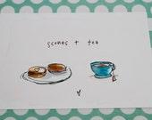 Scones & tea - Illustrated flat note card