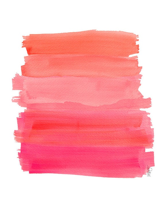Hot Pink Ombre Dip Dyed Art Watercolor 8x10 By
