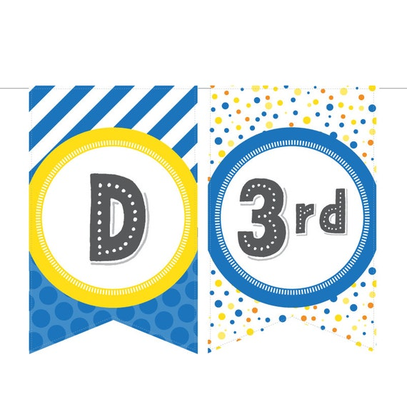 Items Similar To Printable Birthday Banner In Yellow