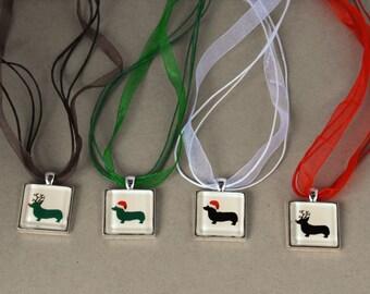 Corgi Christmas Jewelry – Pendant Necklace with Corgi Dog Santa or Rudolph design - Holiday Gift Idea