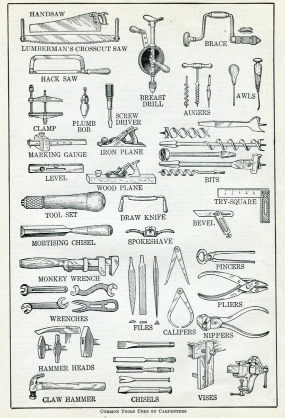 Carpenter Tools Vintage Dictionary Print Common Tools Used