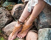 Crochet Gold Barefoot Sandals Nude shoes Foot bohemian jewelry Victorian Lace Sexy Yoga Anklet Steampunk Feet thongs Boho accessory Shoes