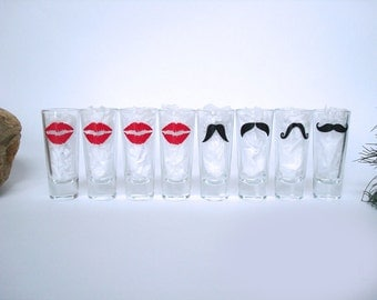 8 Mustache and Lips Shot Glasses - Mustache Shot Glass - Birthday Gift - Choose Your Style and Color