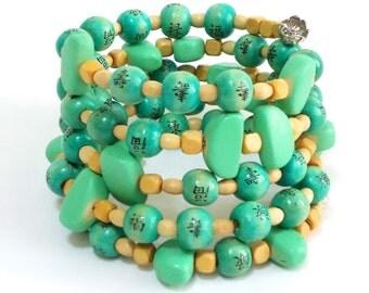 Mystic turquoise stacked wood bracelet, rosary layered handpainted bracelet, buddhist boho bracelet, blue, Artisan Jewelry