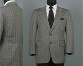 Vintage 1970s Mens Vintage Jacket - Black and Gold Moroccan Design Blazer - Belted Back Sport Coat 40 42
