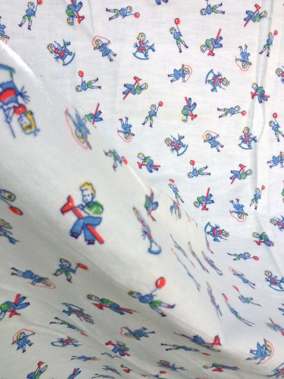 Vintage kids 39 flannel fabric little boys girls for Little boy fabric