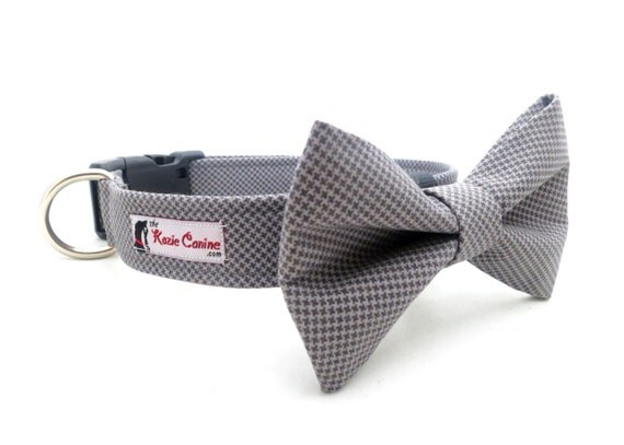 Micro Houndstooth - Dark/Light Grey Dog Collar (INCLUDES matching Bow Tie)