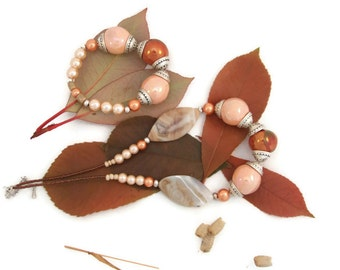 Necklace - peach,copper,silver - agate,ceramic,pearl,metal - made in Ireland - Free Shipping Worldwide