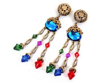 1980s Huge Bohemain Jewel Tone Rhinestone Dangle Clip Earrings