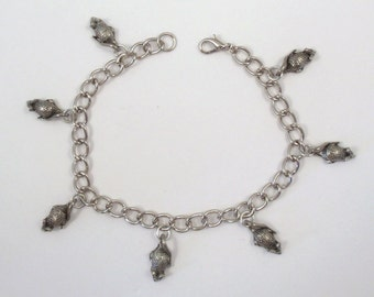 Silver Tone Charm Bracelet with 7 Pewter  Mouse/Rat Charms - 5110
