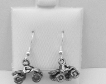 Pewter Monster Truck Earrings on Sterling Silver French Hook Ear Wires - 5418