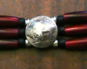 Red Hairpipe vest extenders HANDCRAFTED for leather vests with Genuine Buffalo Indian Head Nickels
