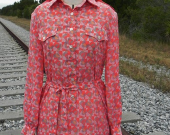 1980's Orange Geometric Print Dress