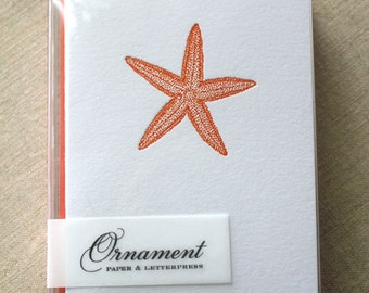 Starfish Letterpress Card Set