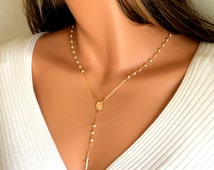 Rosary Necklace Pearl Women Cross Pendant Gold Rosaries 14kt Goldfilled Freshwater Pearls Cross Spiritual Faith