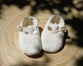 BRIAGA - T-strap baby sandals handknit organic cotton  - pick your color - Natural baby - free shipping worldwide