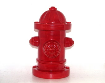 Cranberry Red Ceramic Fire Hydrant - 11 inches - hand painted, indoor or outdoor, lawn or garden