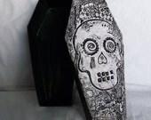 Coffin Box - Dia de los Muertos Sugar Skull hand painted