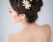 Bridal Hair Comb with Gold Silk Organza Flower and Ivory Feathers
