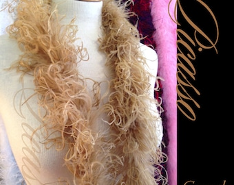 1ft (12inch) CAMEL Boutique Curly Ostrich feathers marabou for curly ostrich puffs, hair clips, beanies, kufis, angel wings,