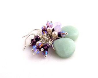 Green and Lavender Gemstone Dangle Earrings, Cluster Earrings, Gemstone Jewelry, Wedding Jewelry, Gifts