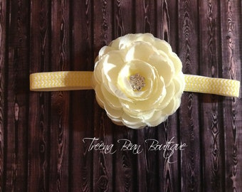 Cream Peony Flower Chevron Headband- newborn headband- infant headband- baby headband- Peony headband- Photo Prop