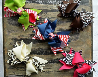 Set of 5 Boutique Hair Bow Clips, Baby Headband, Hair Bow Headband, Pigtail Hair Bows, Animal Print Hair Bows