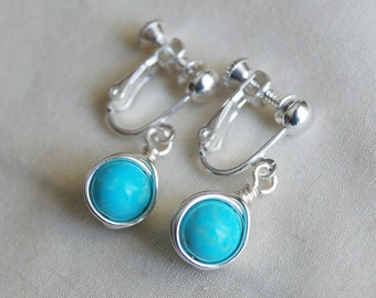 Turquoise Clip On Earrings , Light Blue Clip Ons , Turquoise Silver Earrings, Screw Back Earrings