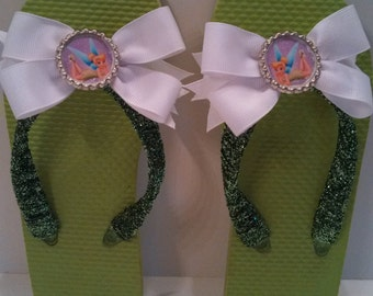 Tinkerbell Flip Flops and matching hair bow