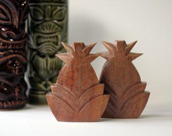 60's Wood Pineapple Shakers Salt & Pepper